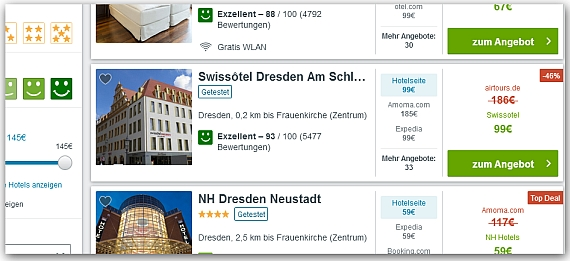 Trivago Hotelselection Screenshot