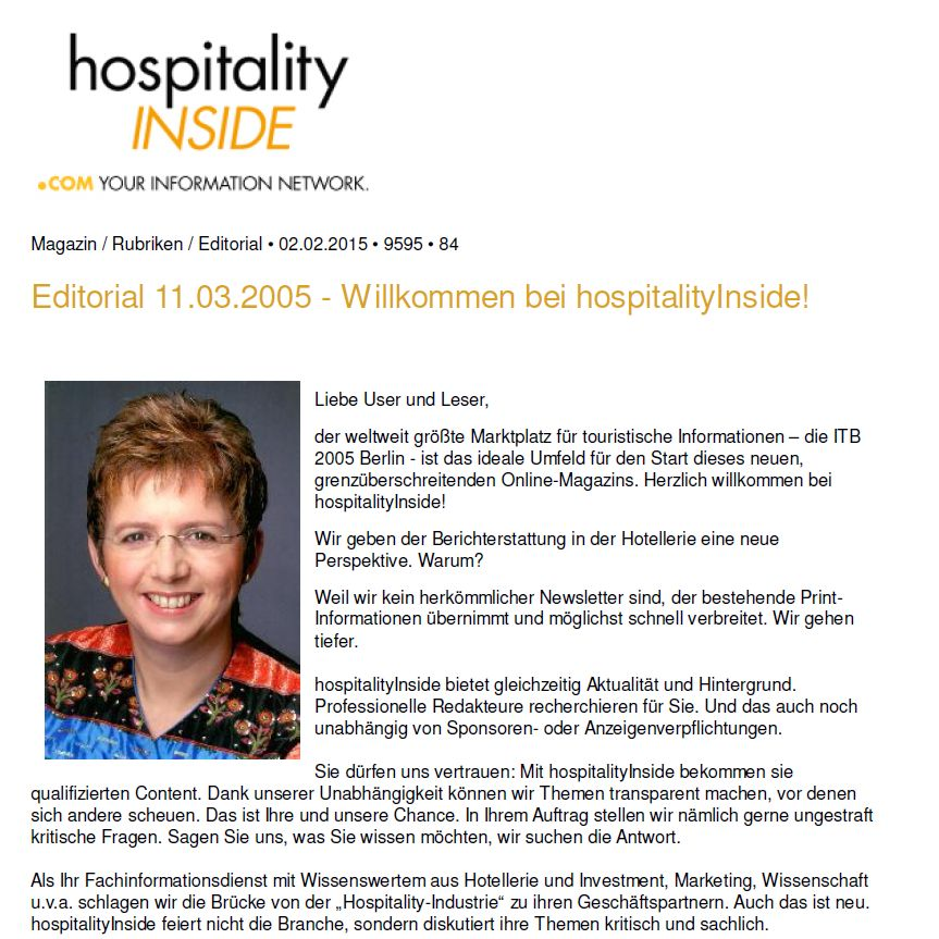 1st issue of hospitalityInside March 13, 2005